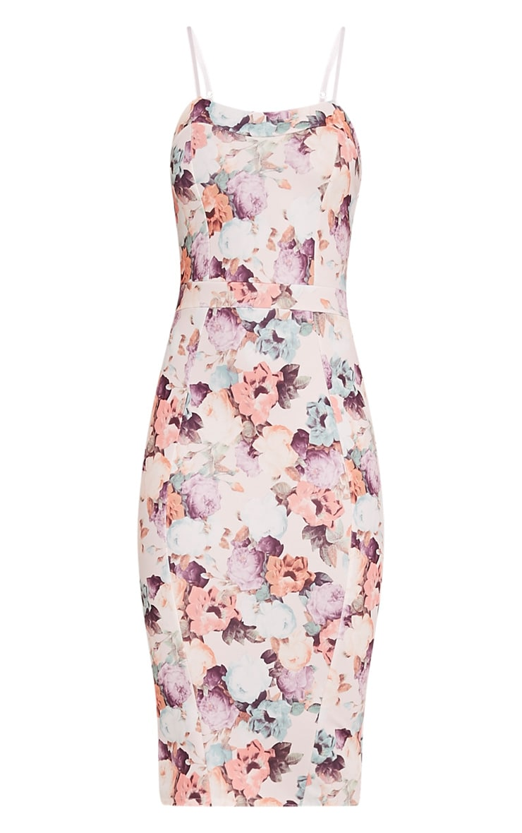 Dinah White Floral Print Strappy Midi Dress 3