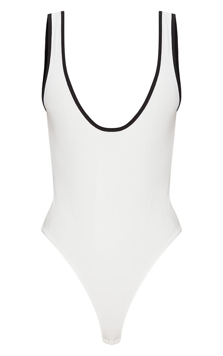 White Slinky Contrast Scoop Back Thong Bodysuit  3