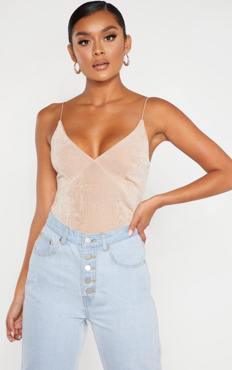 Champagne Textured Slinky Cup Detail Cami Top 1