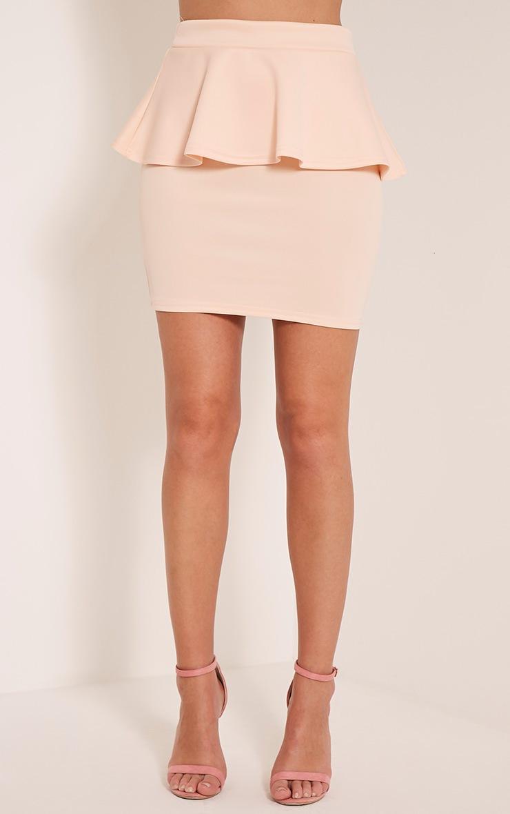 Mariela Nude Peplum Scuba Mini Skirt 2