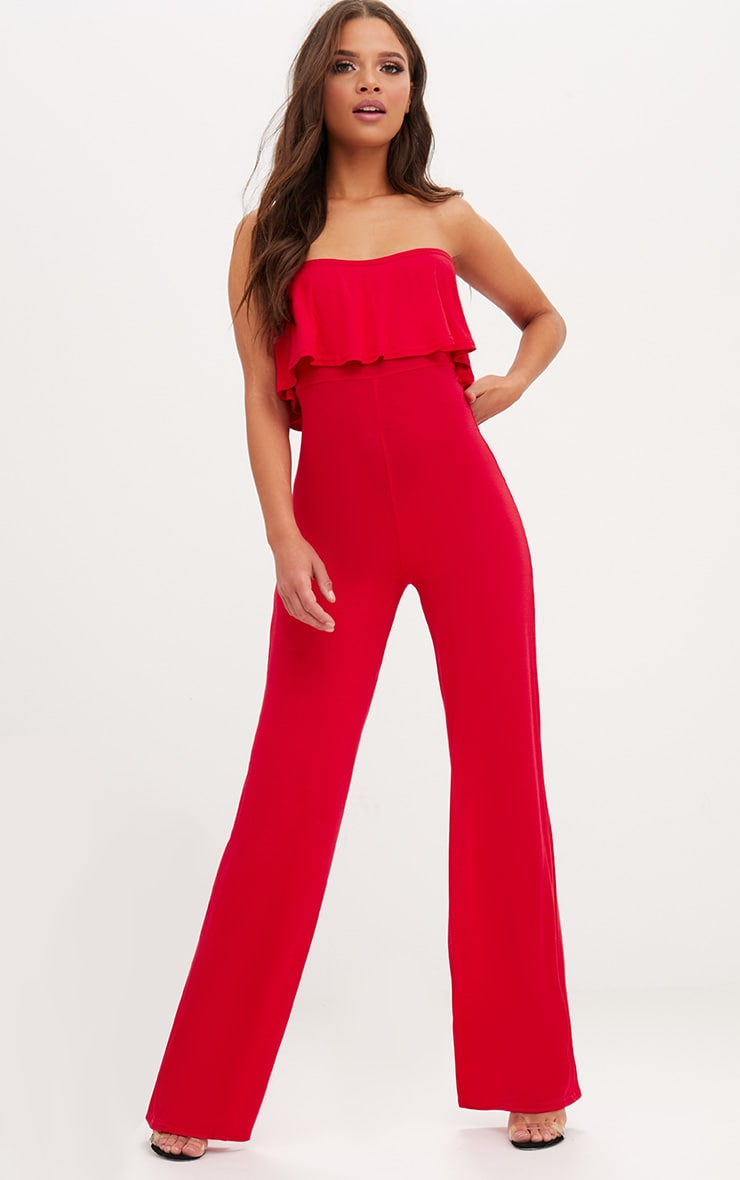 Red Jersey Bandeau Frill Jumpsuit 1