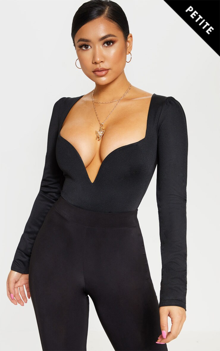 Petite Black Long Sleeve Plunge Bodysuit image 1 1b88d2714