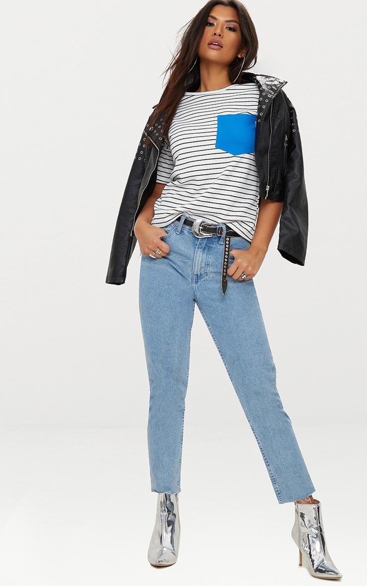 White Pocket Contrast Stripe T Shirt 4