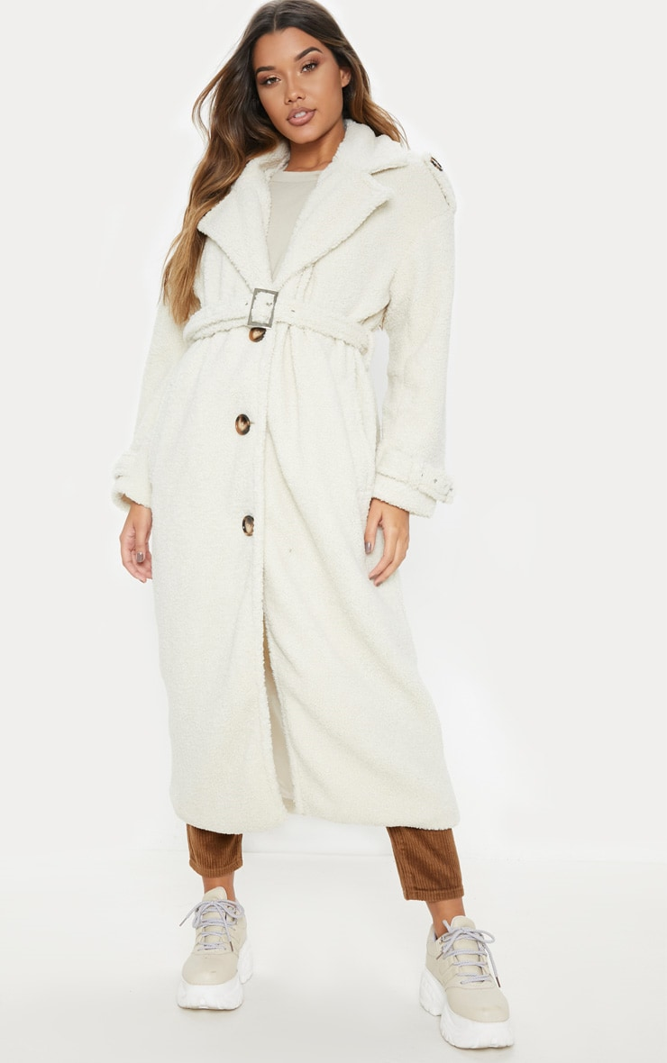 Cream Borg Oversized Belted Coat 4