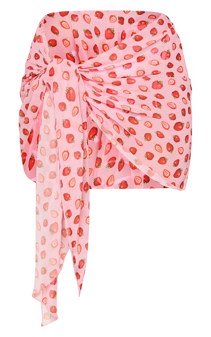 Pink Strawberry Print Contrast Tie Sarong 6