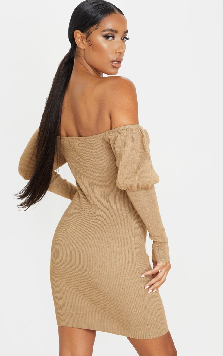 Camel Zip Front Puff Sleeve Knitted Dress 2