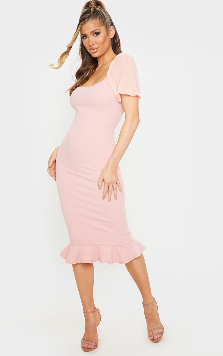 Dusty Pink Mesh Puff Sleeve Frill Hem Midi Dress 1