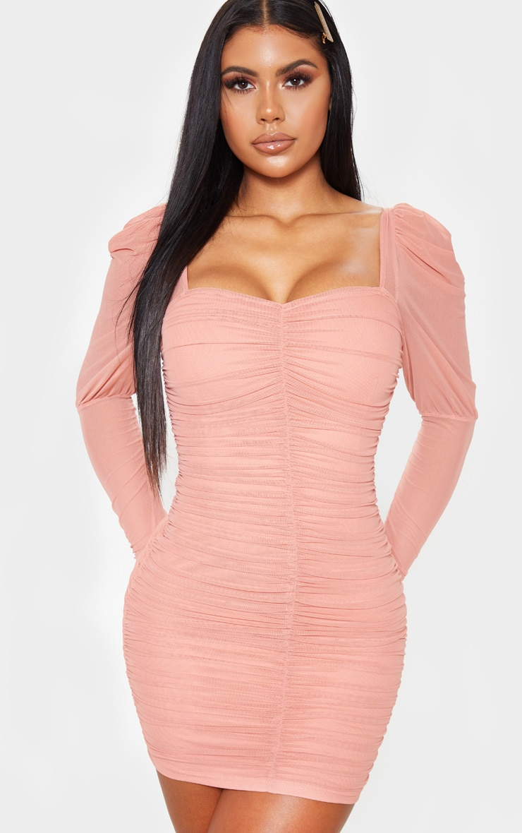 Ruched bodycon dress with sleeves