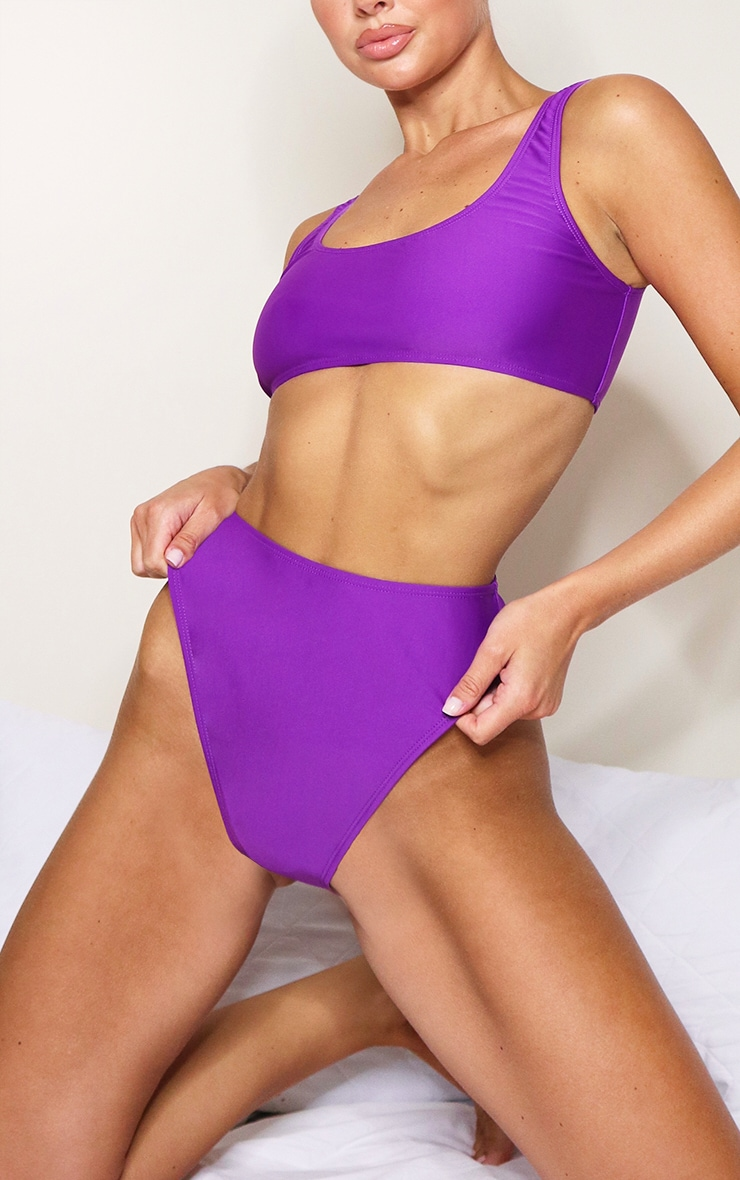 Purple Mix & Match High Waisted High Leg Bikini Bottoms 1