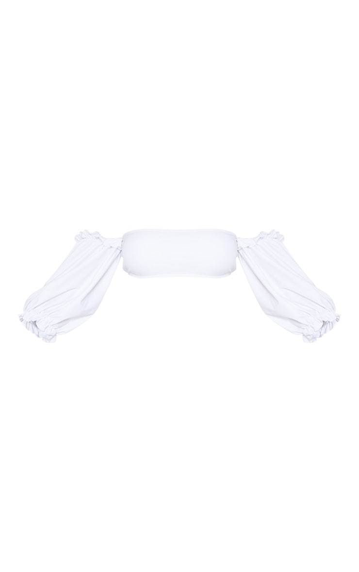 White 3/4 Bardot Puff Sleeve Bikini Top 3