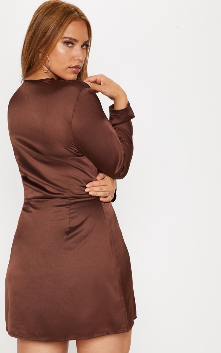 Plus Chocolate Brown Satin Long Sleeve Wrap Dress 2