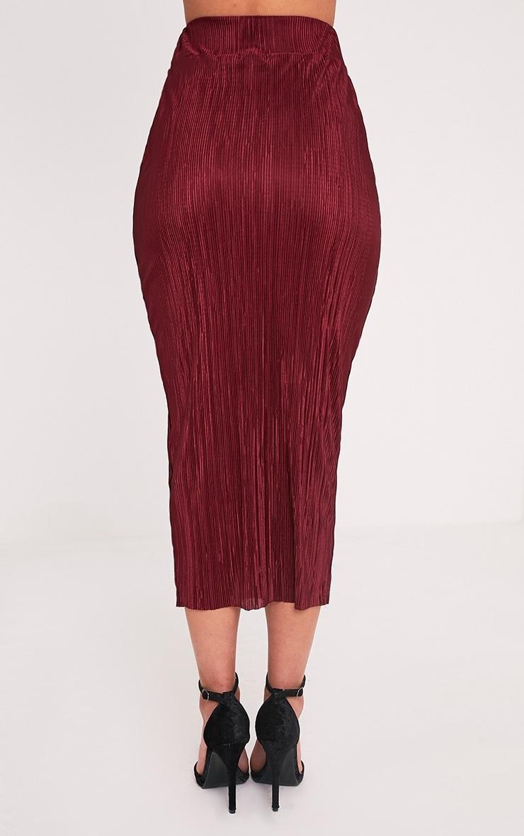 Pernille Burgundy Pleated Long Line Midi Skirt 5