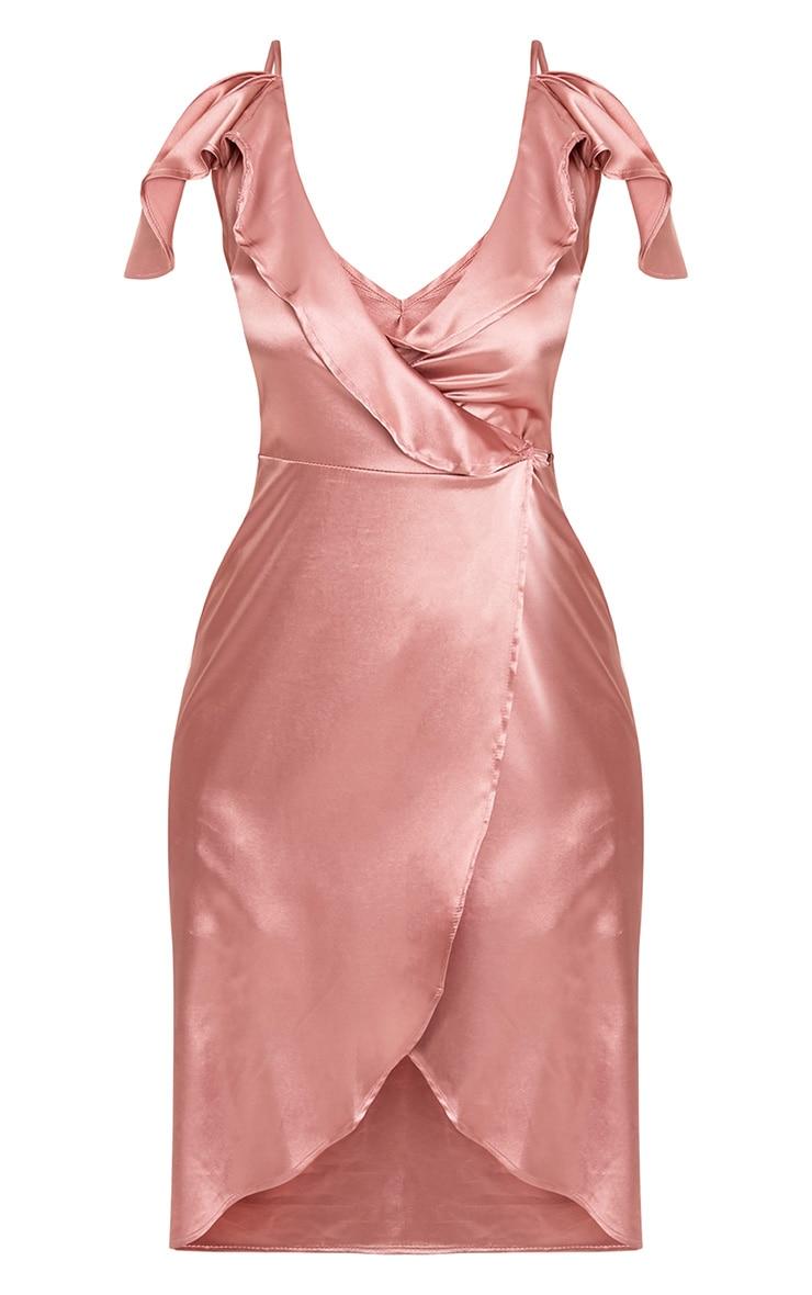 Quinn Rose Satin Frill Cold Shoulder Midi Dress 3