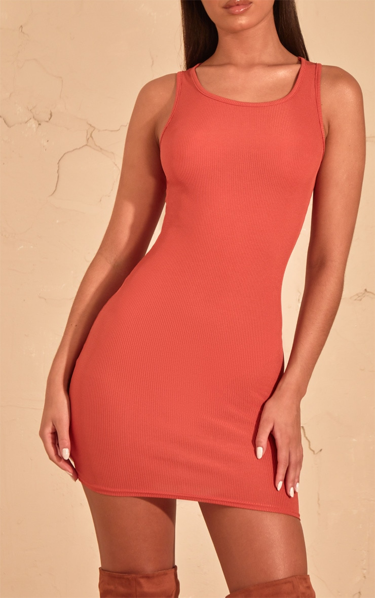 Auburn Ribbed Scoop Neck Bodycon Dress  5
