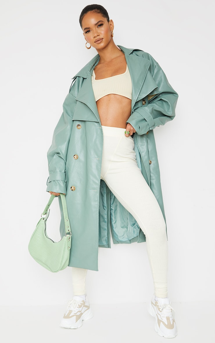 Duck Egg Blue Faux Leather Oversized Belted Midi Trench 1