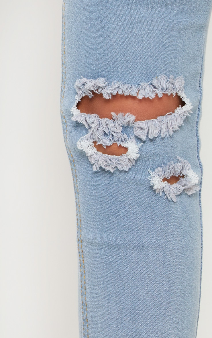 Petite Light wash Knee Rip Slim Jean 5