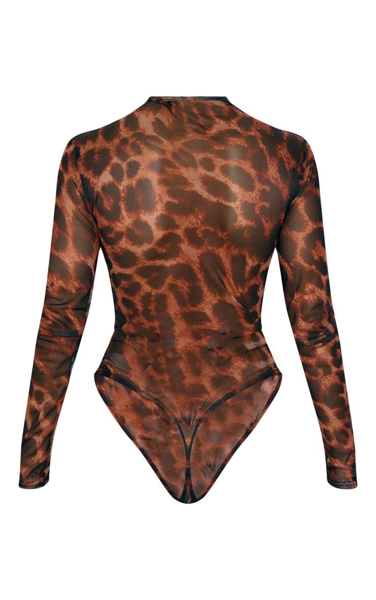 Tan Leopard Print Mesh Ruched Bodysuit 4