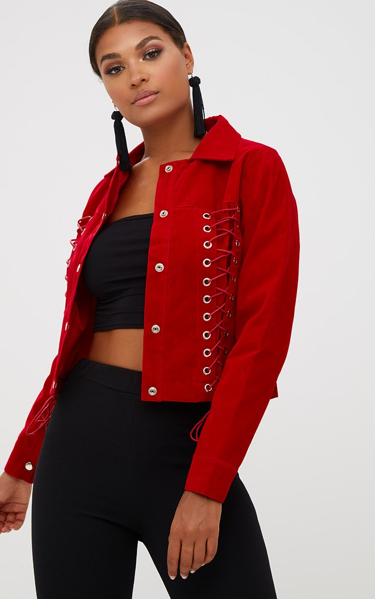 Red Lace Up Faux Suede Jacket 1
