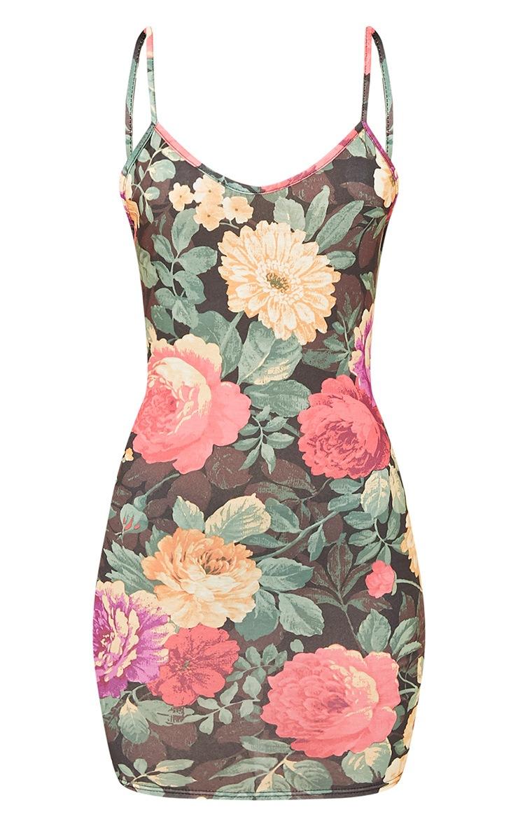 Natalia Black Floral Print Scoop Back Dress 3
