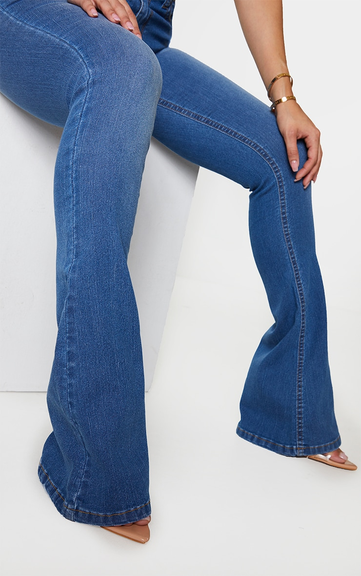 Shape Mid Blue Wash High Waist Skinny Flared Jeans 4