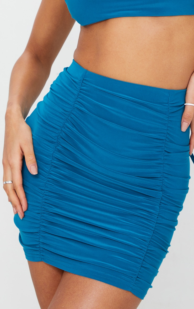 Teal  Slinky Double Ruched Seam Mini Skirt 5