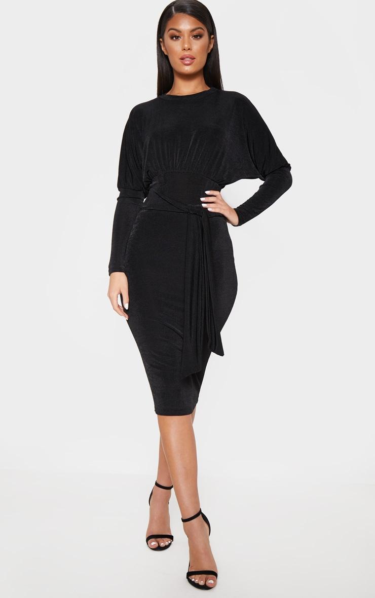 Black Balloon Sleeve Tie Waist Midi Dress by Prettylittlething