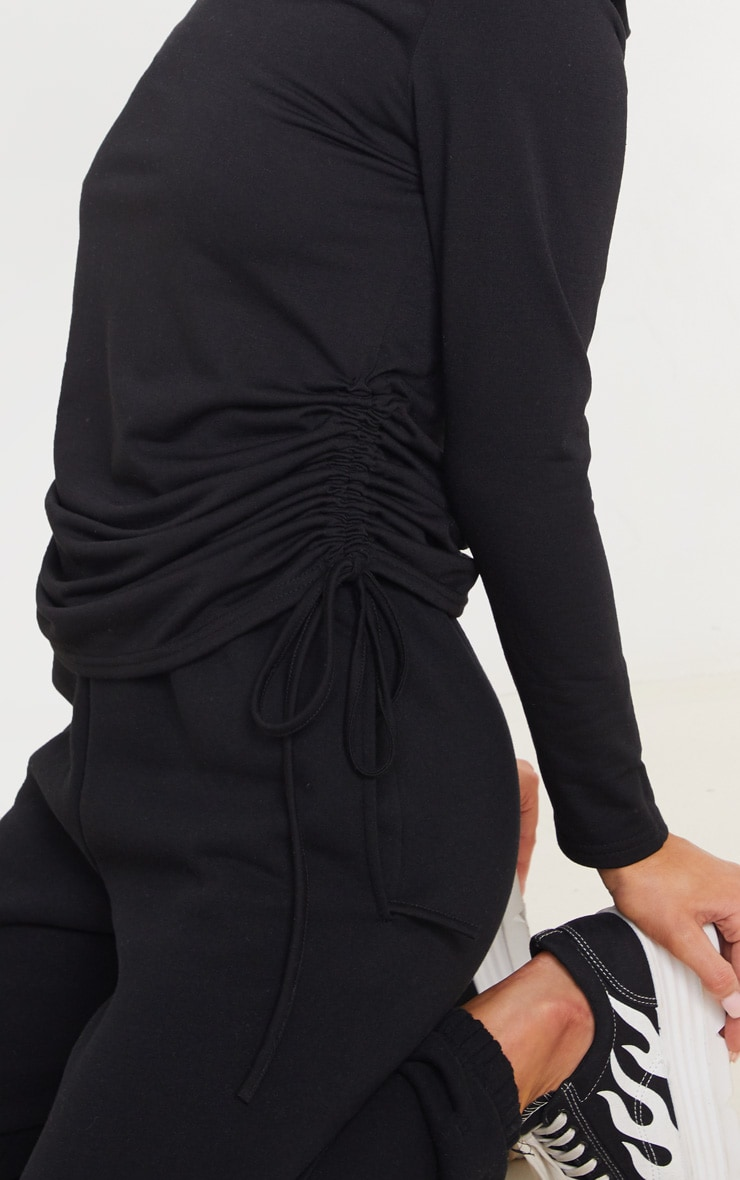 Black Oversized Ruched Side Top 6