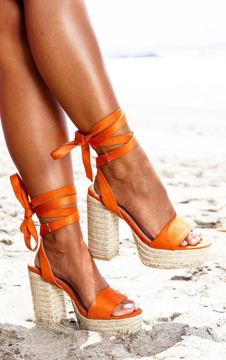 Orange Double Platform Espadrille Leg Tie Sandal  1