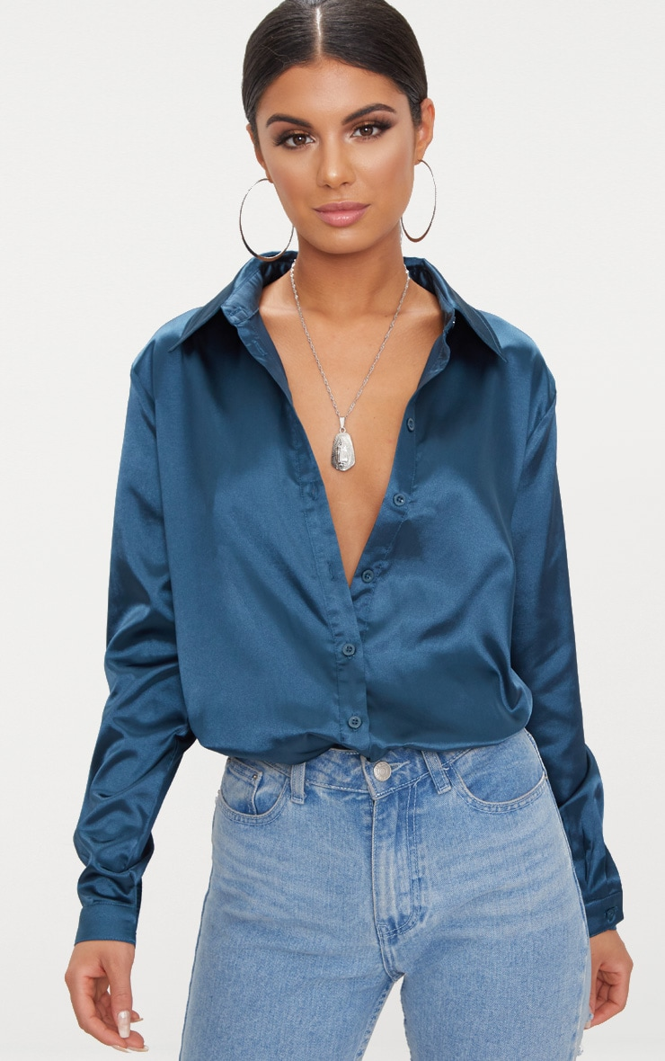 Teal Satin Button Front Shirt  1