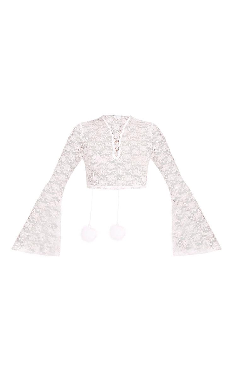 Izobell White Lace Pom Pom Top  3