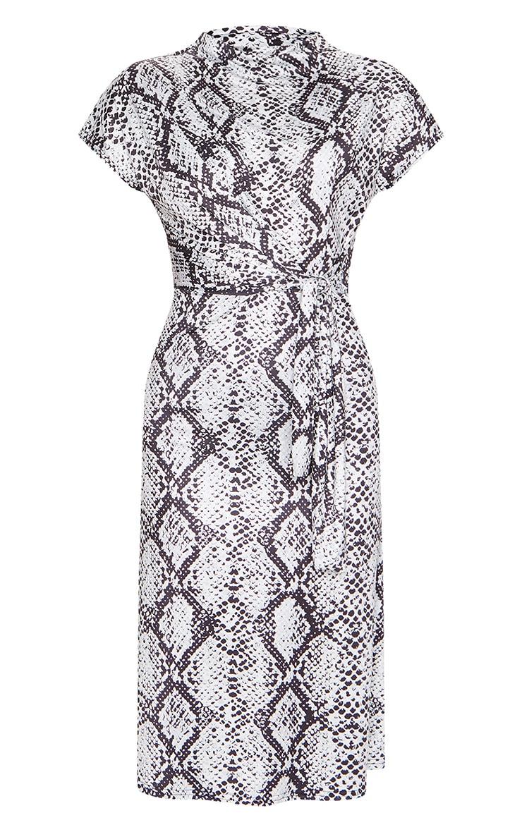 Grey Slinky Snake Print Wrap Detail Shift Midi Dress 5