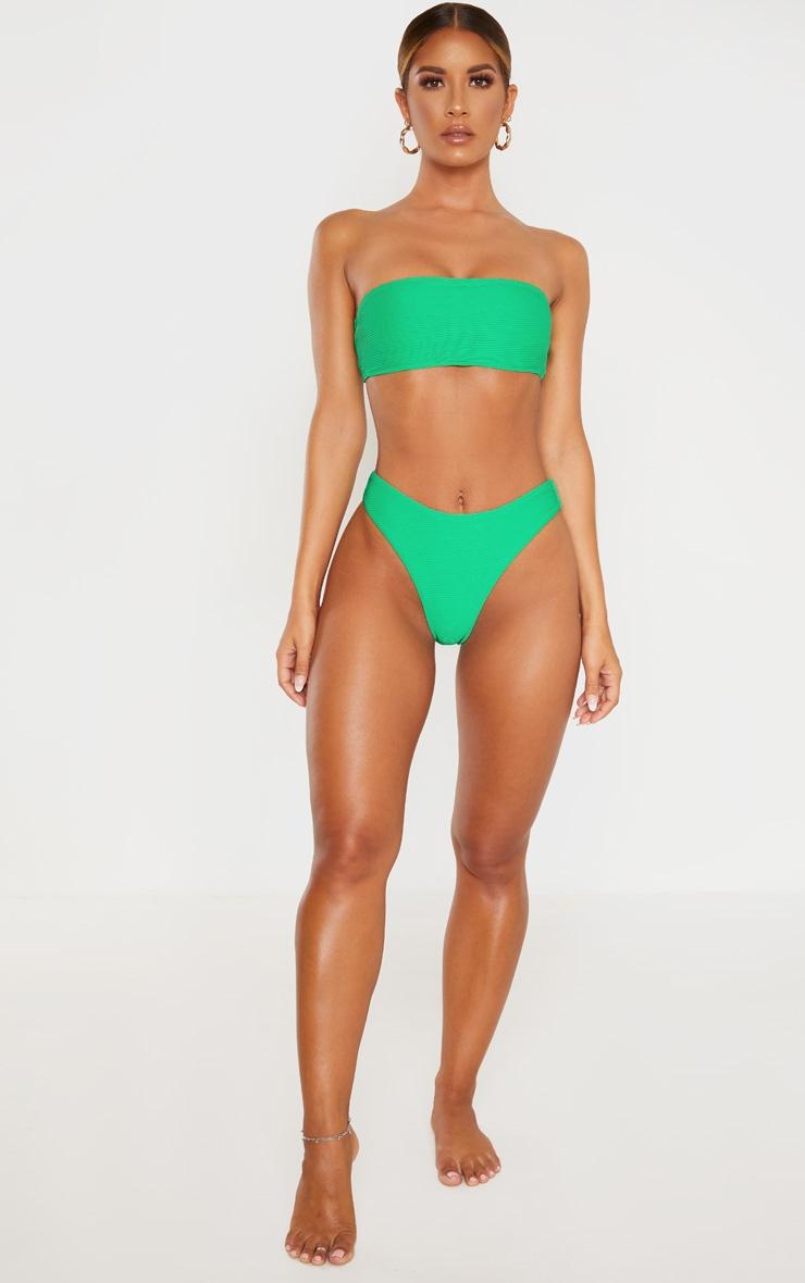 Green Ribbed Bandeau Bikini Top 4