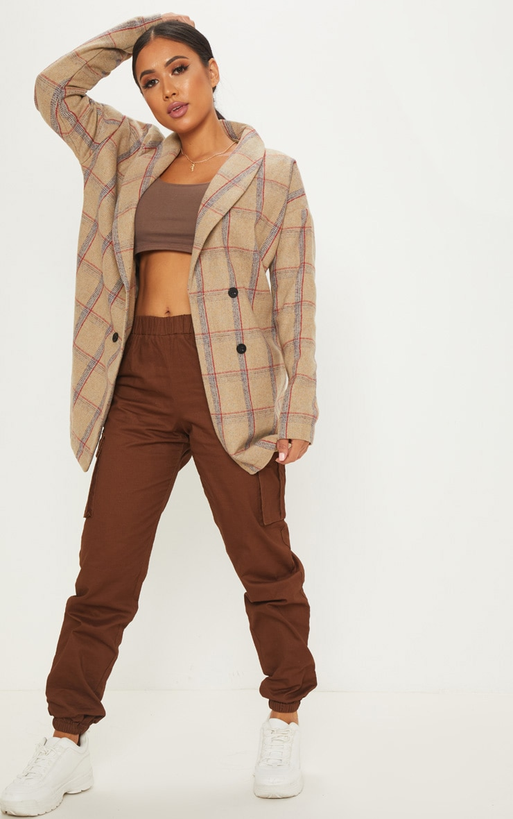 Petite Nude Check Oversized Coat 1