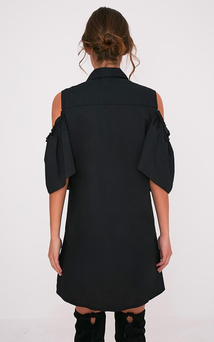 Ashlee Black Cold Shoulder Frill Detail Shirt Dress 2