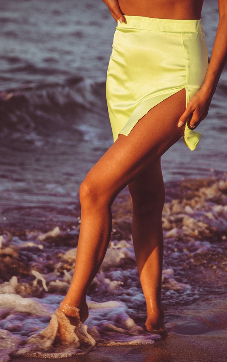 Lime Satin High Waisted Slit Mini Skirt 2