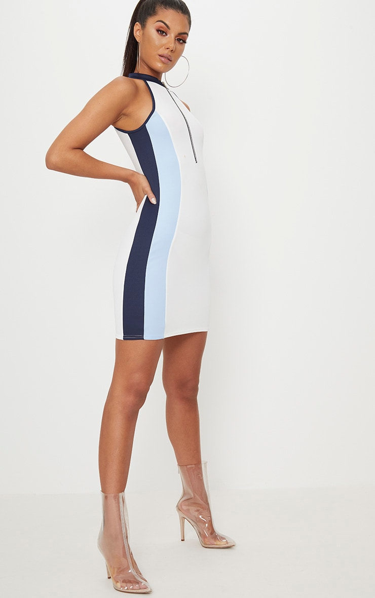 Blue High Neck Scuba Contrast Bodycon Dress  4