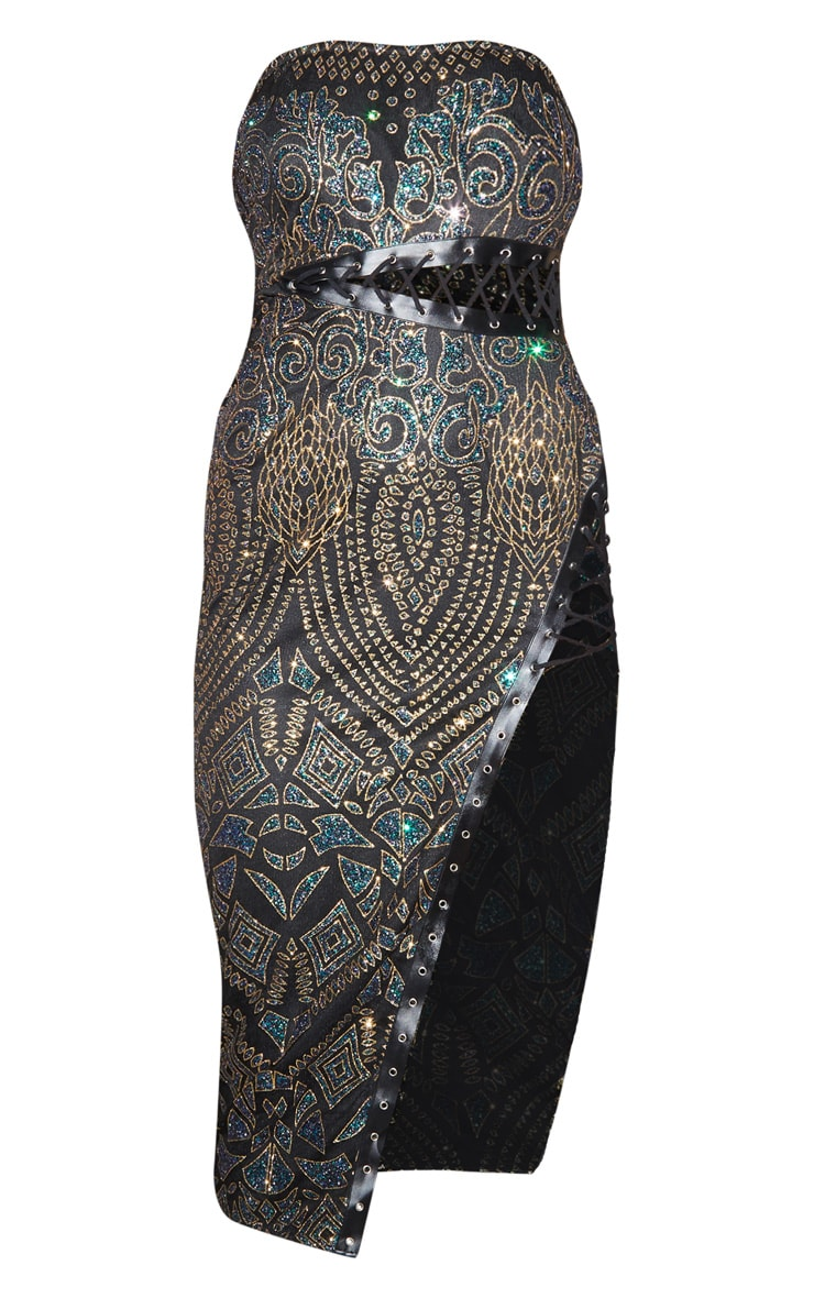 Black Glitter Lace Detail Bandeau Midi Dress 5