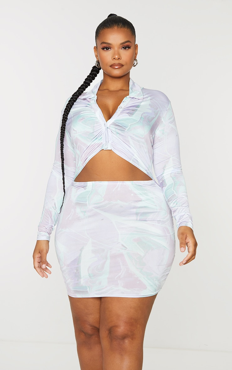 Plus Lilac Tie Dye Print Collared Cut Out Long Sleeve Bodycon Dress 3