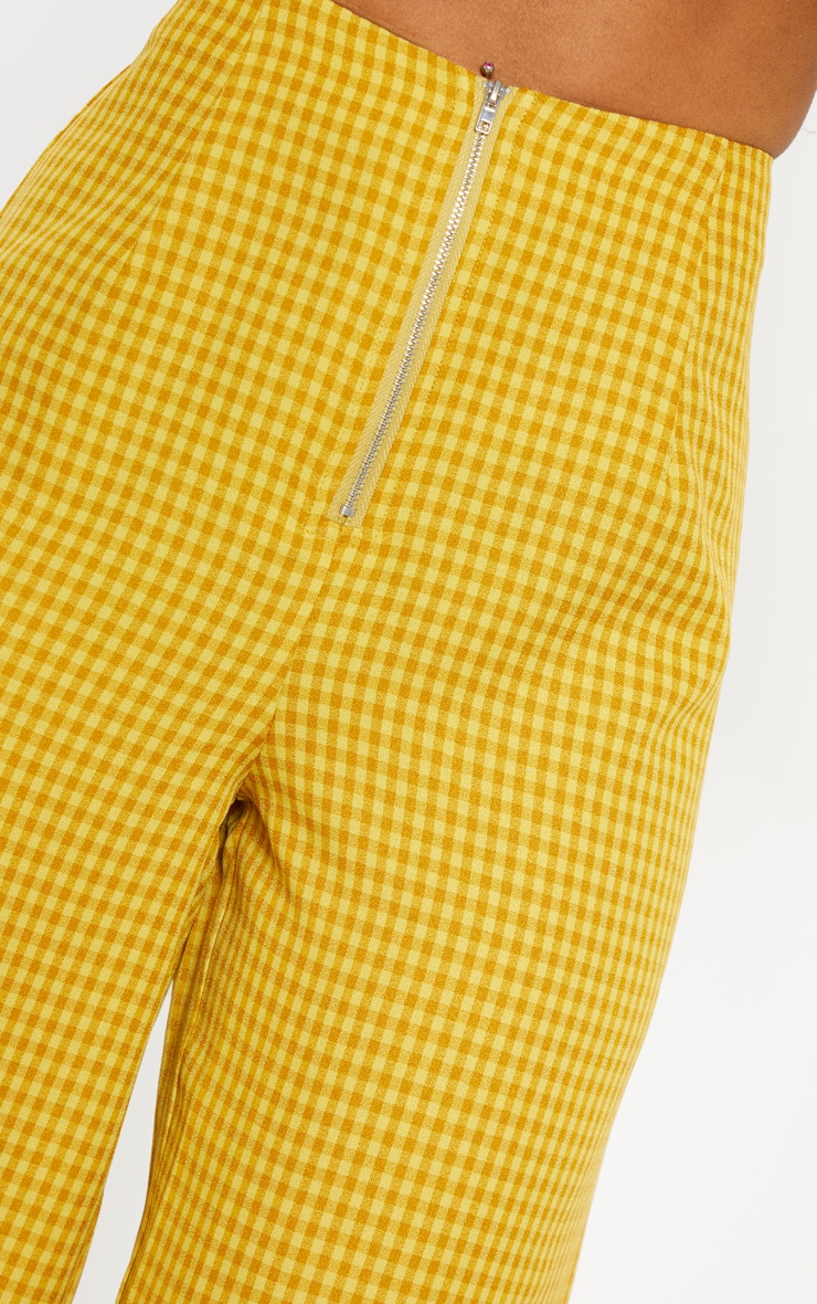 Yellow Check Wide Leg Pants 5