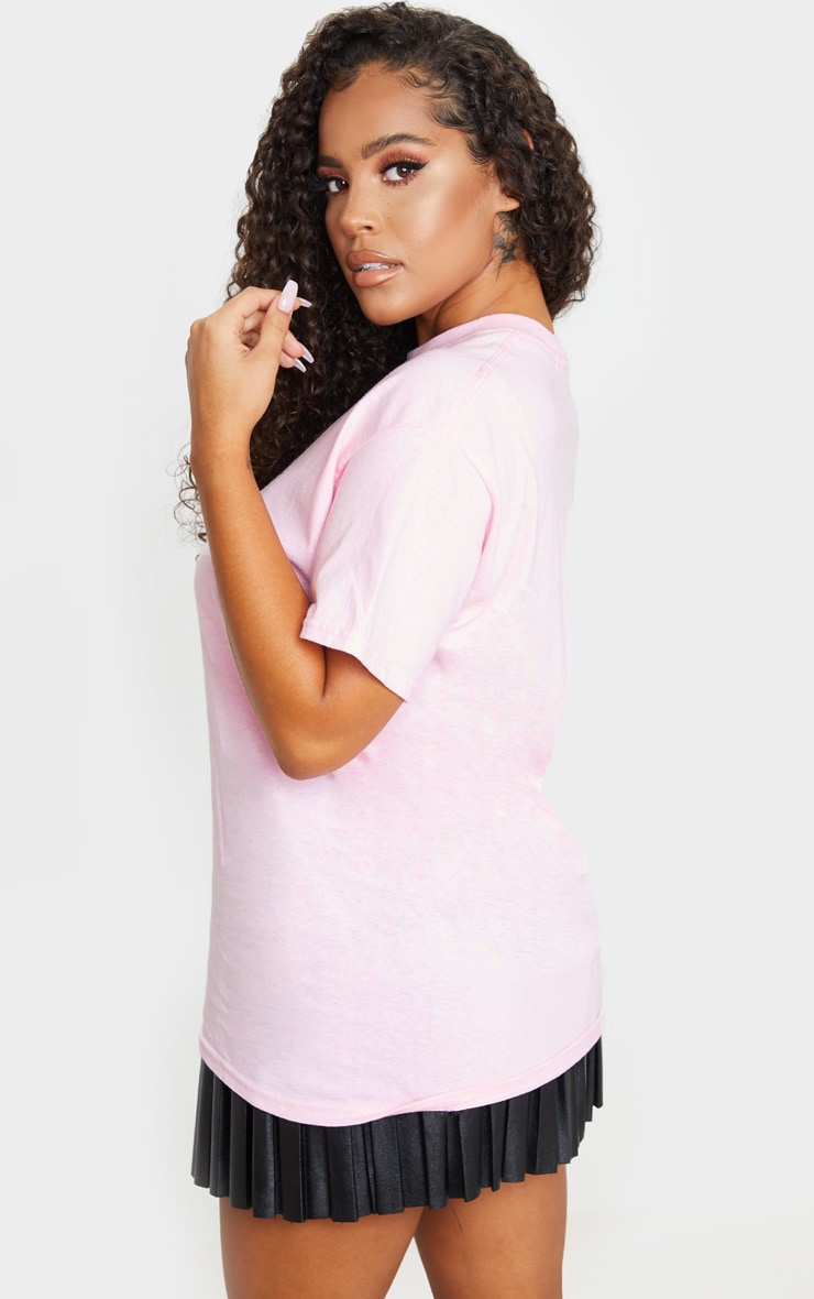 Baby Pink Day Dreamer Printed Oversized T Shirt 2