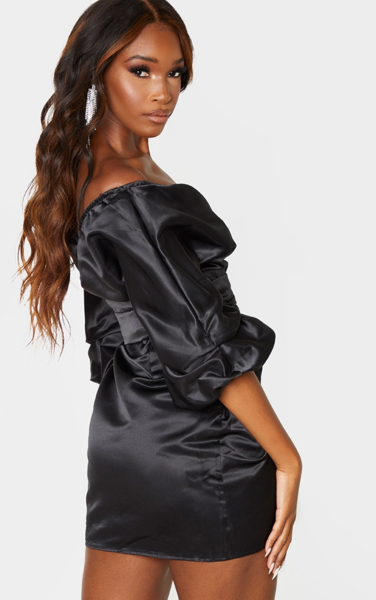 Black Off The Shoulder Satin Ruched Side Bodycon Dress  2