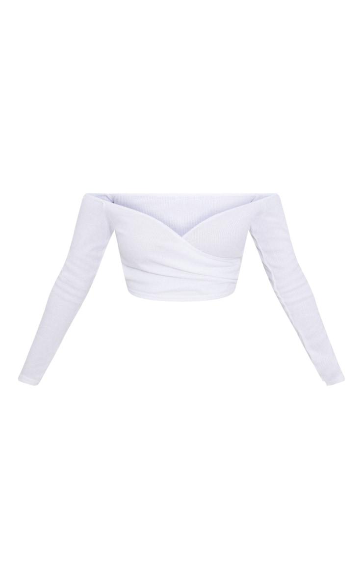 Shape White Wrap Bardot Ribbed Crop Top 3