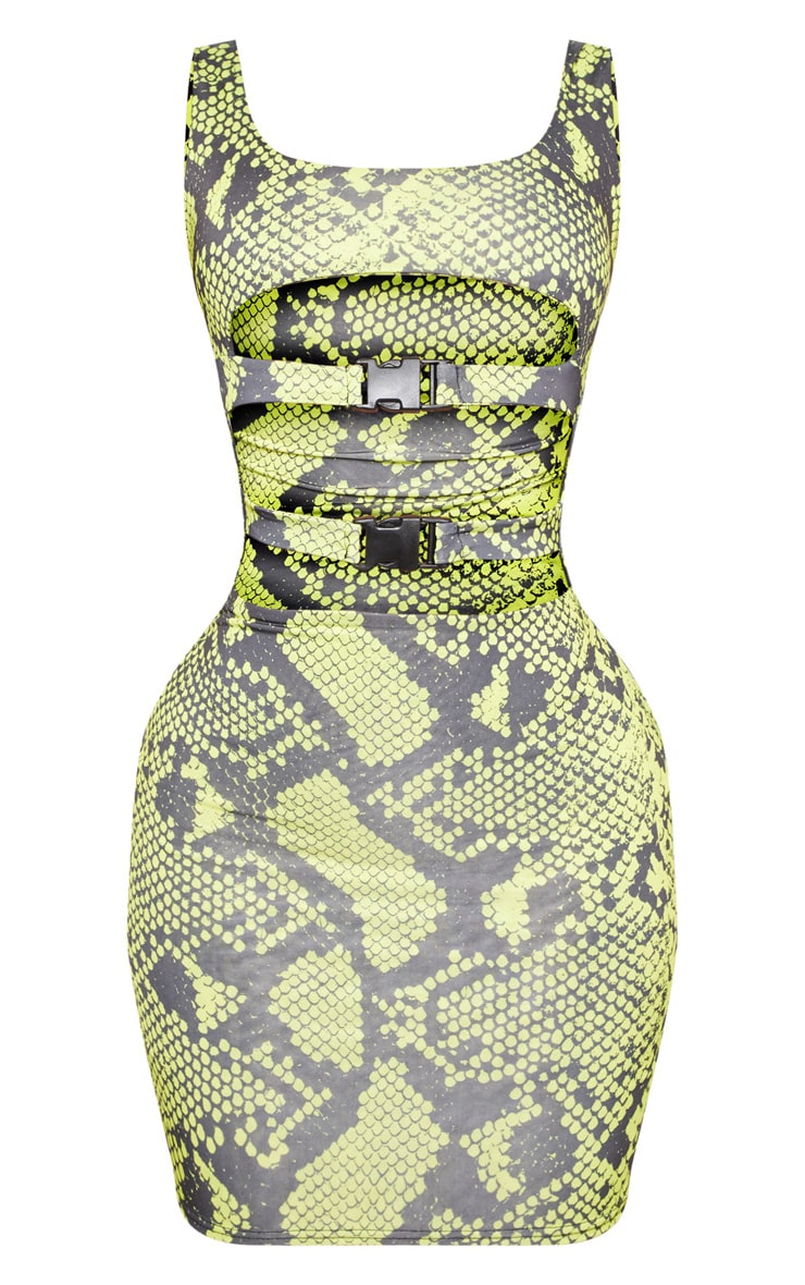 Shape Neon Lime Snake Slinky Buckle Detail Cut Out Bodycon Dress 3