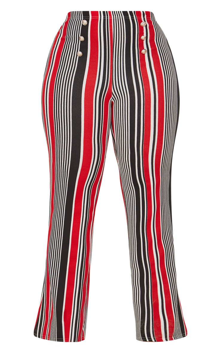 Plus Red Striped Gold Button Flared Trousers 3