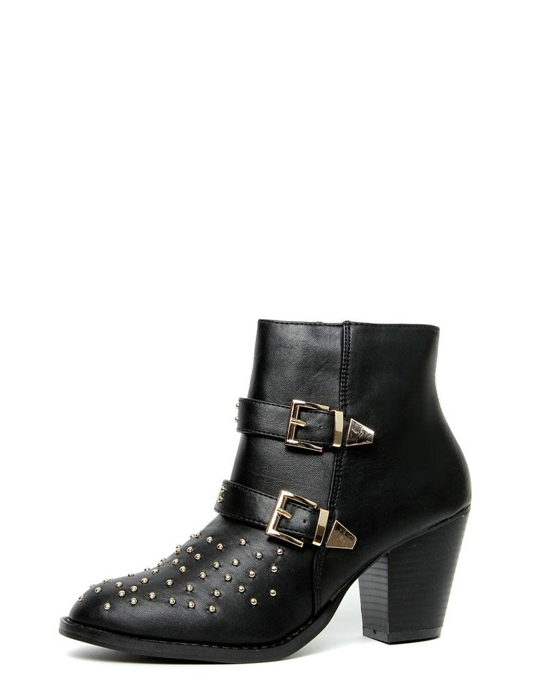 Ava Black Stud Buckle Boots 3