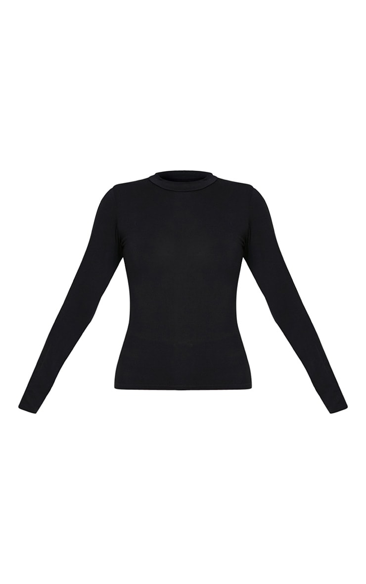 Basic Black High Neck Jersey Top 3