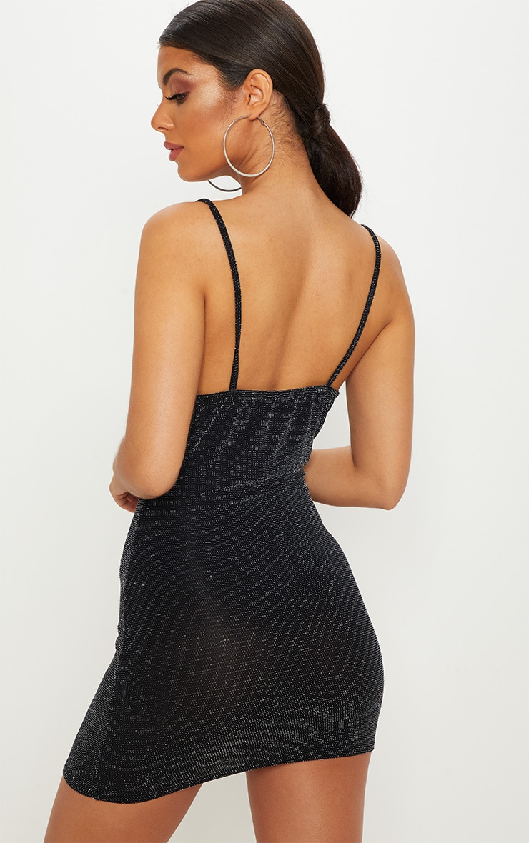 Black Textured Glitter Cowl Neck Bodycon Dress 2
