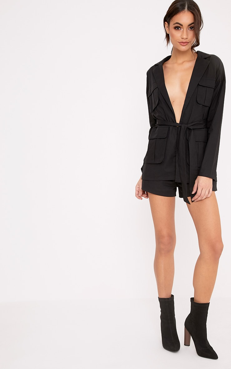 Donia Black Miltary Style Tie Waist Playsuit 4