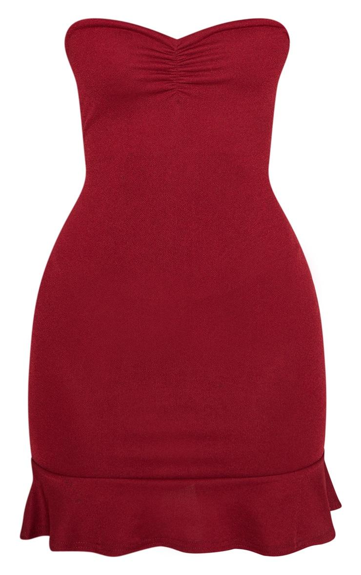 Petite Burgundy Flippy Hem Bodycon Dress  3