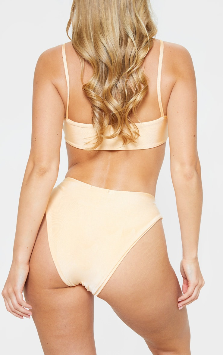 Peach Strap Front High Leg Bikini Bottom 4